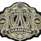KING OF THE LADDERS CHAMPIONSHIP WRESTLING BELT BLACK LEATHER STRAP ADULT SIZE