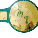 24/7 WRESTLING CHAMPIONSHIP BELT BRASS PLATED GREEN LEATHER STRAP ADULT SIZE