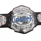 WRESTLING CORNER CHAMPIONSHIP.DE GERMANY BELT BLACK LEATHER STRAP ADULT SIZE