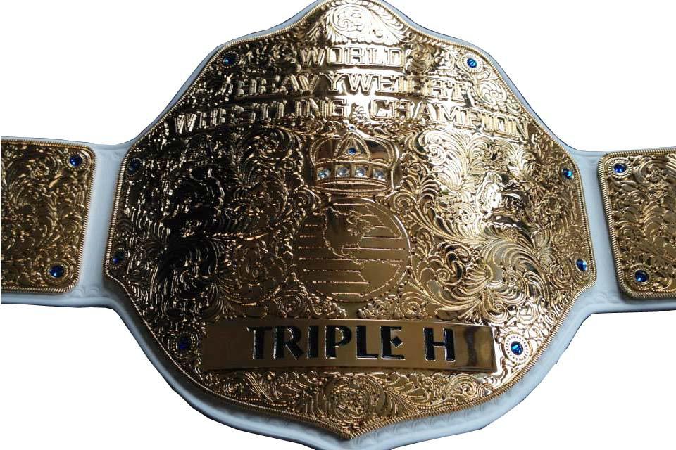 FANDU BIG GOLD TRIPPLE H WRESTLING CHAMPIONSHIP BELT WHITE LEATHER STRAP ADULT SIZE