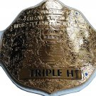 FANDU BIG GOLD TRIPPLE H WRESTLING CHAMPIONSHIP BELT WHITE LEATHER STRAP ADULT SIZE