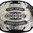 TAG TEAM WRESTLE-1 WRESTLING CHAMPIONSHIP BELT BLACK LEATHER STRAP ADULT SIZE