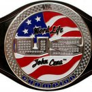 US SPINNER JOHN CENA WORLD LIFE CHAMPIONSHIP BELT BLACK LEATHER STRAP ADULT SIZE