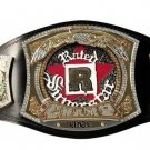 EDGE RATED WRESTLING CHAMPIONSHIP BELT BLACK LEATHER STRAP ADULT SIZE