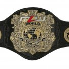 MZW WRESTLING HEAVYWEIGHT CHAMPIONSHIP BELT BLACK LEATHER STRAP ADULT SIZE