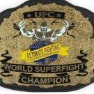 UFC ULTIMATE FIGHTING CHAMPIONSHIP WORLD SUPER FIGHT CHAMPION WRESTLING BELT BLACK LEATHER STRAP