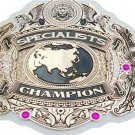 SPECIALIST WRESTLING CHAMPIONSHIP CUSTOM MADE WHITE LEATHER STRAP BELT ADULT SIZE