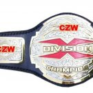 CZW X DIVISION CUSTOM MADE CHAMPION WRESTLING BELT BLACK LEATHER STRAP ADULT SIZE