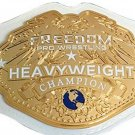 FREEDOM PRO HEAVYWEIGHT WRESTLING CHAMPIONSHIP WHITE LEATHER STRAP BELT ADULT SIZE