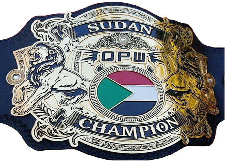 OPW SUDAN WRESTLING CHAMPIONSHIP BELT ADULT SIZE LEATHER STRAP BELT
