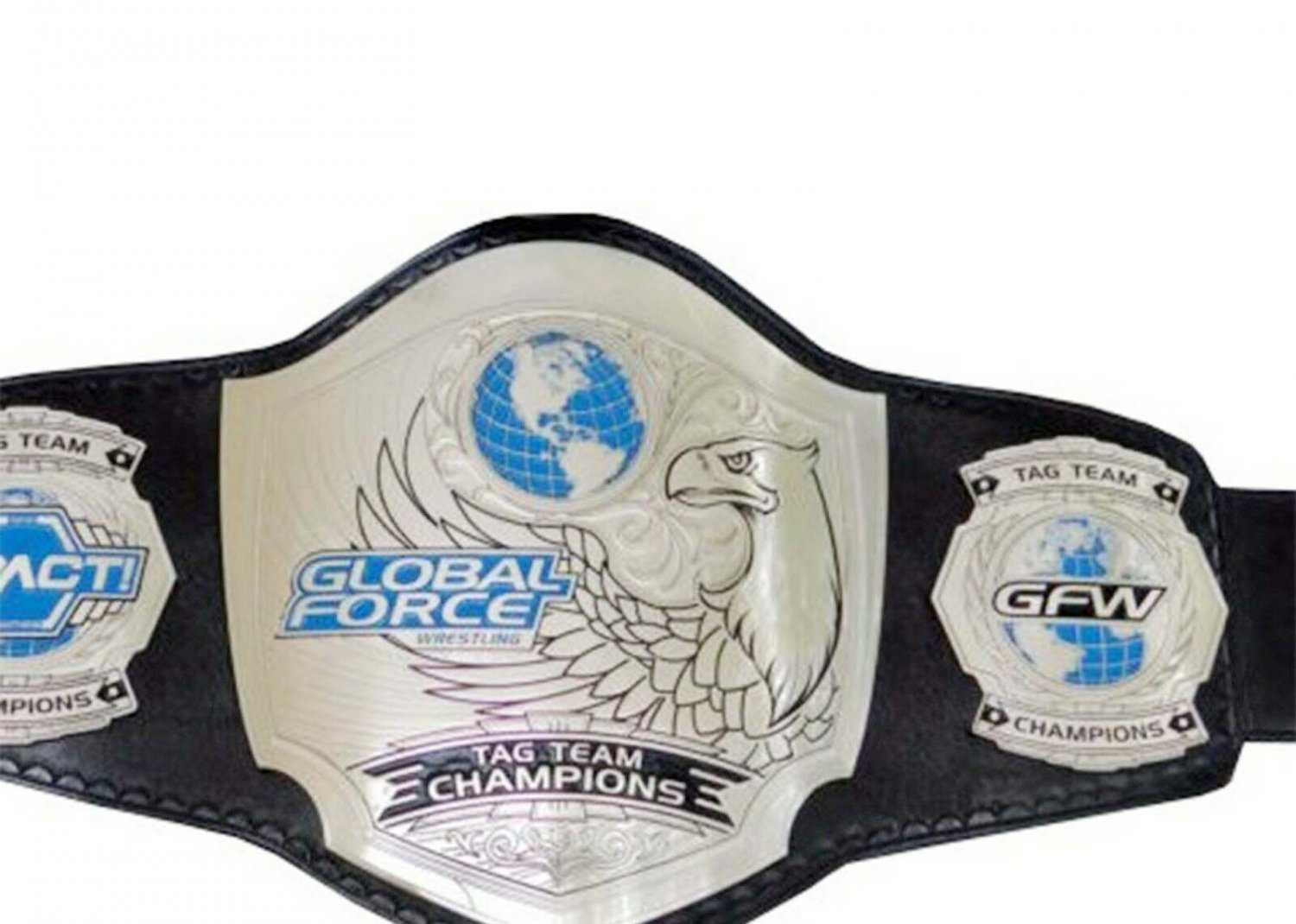 GFW GLOBAL FORCE TAG TEAM IMPACT WRESTLING CHAMPIONSHIP LEATHER STRAP BELT