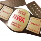 NWA GEORGIA TAG TEAM CHAMPIONS WRESTLING BELT BLACK LEATHER STRAP ADULT SIZE