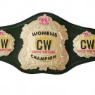 CW CHAOTIC WRESTLING WOMENS CHAMPION BELT BLACK LEATHER STRAP ADULT SIZE