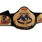 WCW WORLD TAG TEAM WRESTLING CHAMPIONSHIP BELT BLACK LEATHER STRAP ADULT SIZE