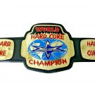 WORLD HARD CORE WRESTLING CHAMPIONSHIP BELT ADULT SIZE BLACK LEATHER STRAP