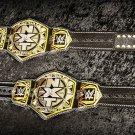 NXT TAG TEAM WRESTLING CHAMPIONSHIP BELT ADULT SIZE BLACK LEATHER STRAP