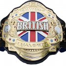 BRITISH HEAVYWEIGHT WRESTLING CHAMPIONSHIP CUSTOM 3D DUAL PLATED NICKLE  BELT BLACK LEATHER STRAP