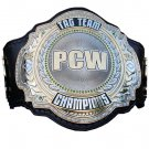 PCW TAG TEAM WRESTLING CHAMPIONSHIP 3D DUAL PLATED NICKLE  BELT BLACK LEATHER STRAP ADULT SIZE