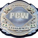 PCW CRUISERWEIGHT WRESTLING CHAMPIONSHIP 3D DUAL PLATED NICKLE  BELT BLACK LEATHER STRAP ADULT SIZE