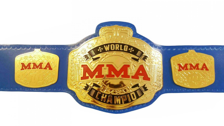WORLD MMA BOXING CHAMPIONSHIP BLUE LEATHER STRAP BELT ADULT SIZE