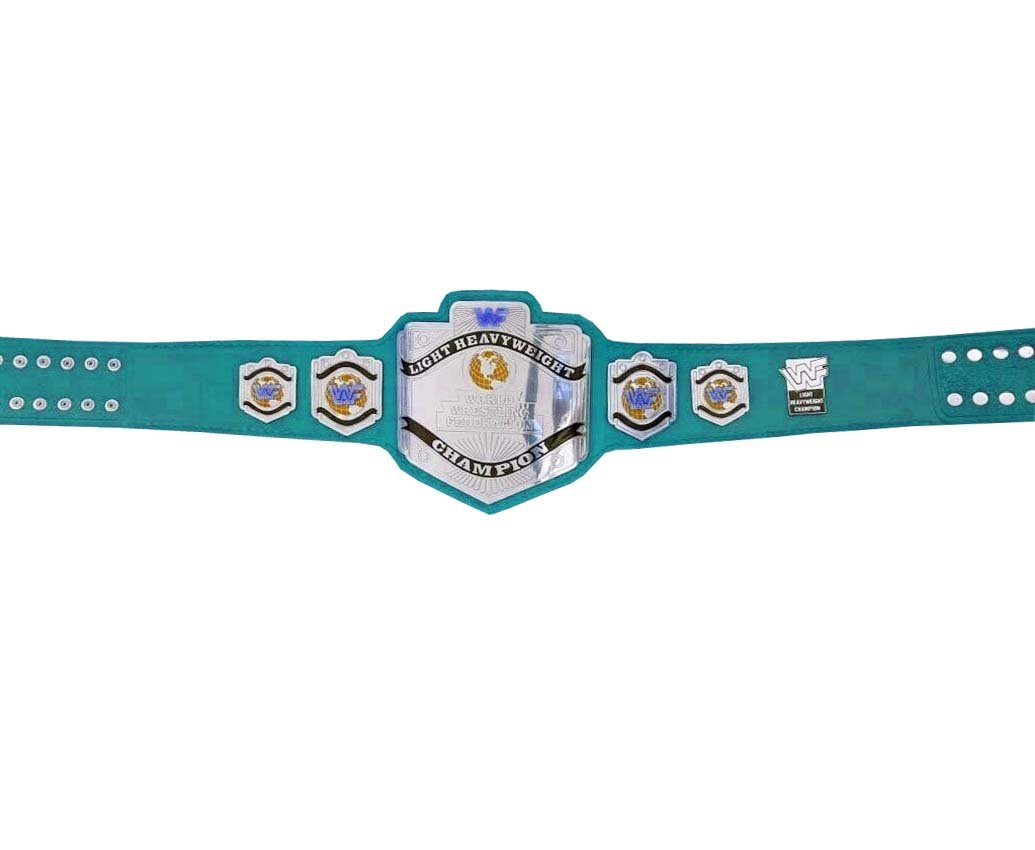 LIGHT HEAVYWEIGHT WRESTLING CHAMPIONSHIP RE LEATHER CUSTOM MADE BELT LIME BLUE LEATHER STRAP