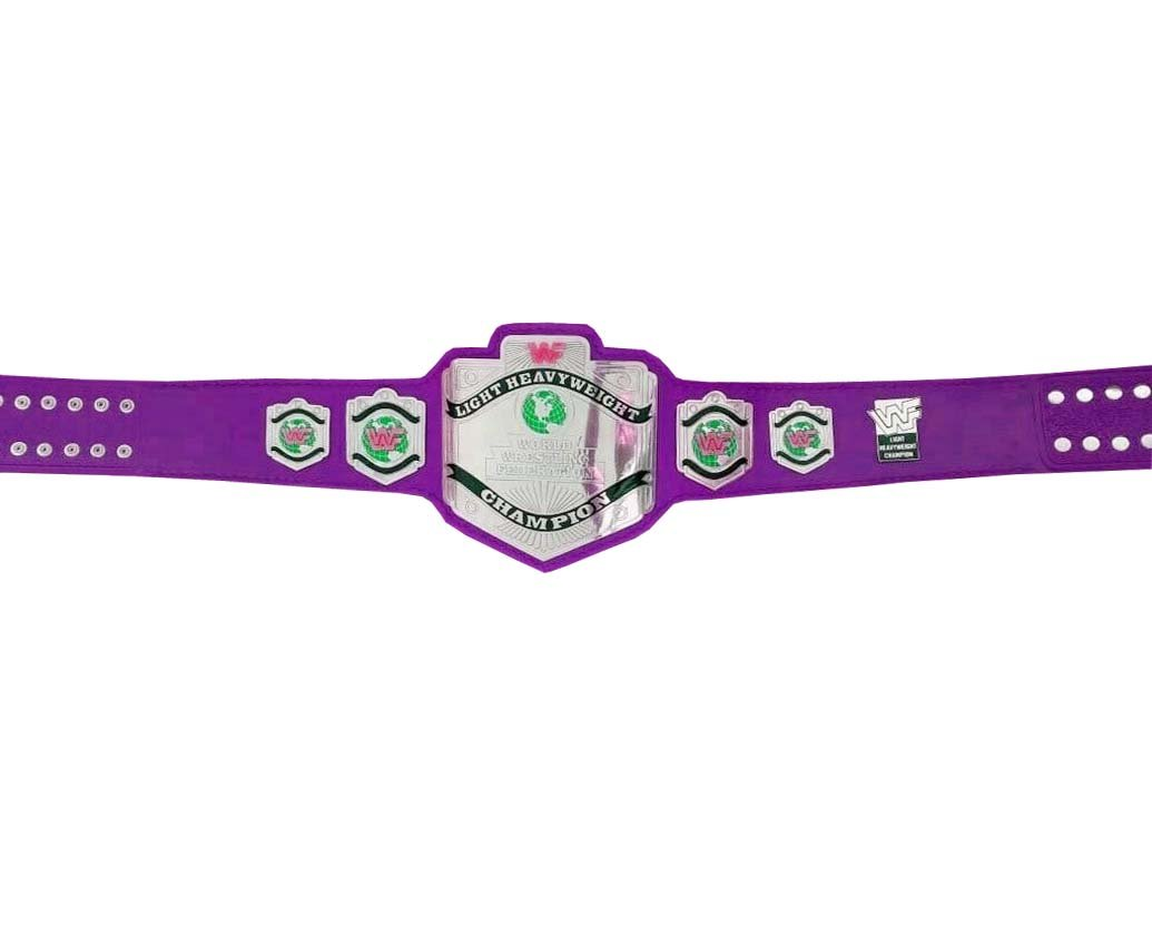 LIGHT HEAVYWEIGHT WRESTLING CHAMPIONSHIP RE LEATHER CUSTOM MADE BELT PURPLE LEATHER STRAP