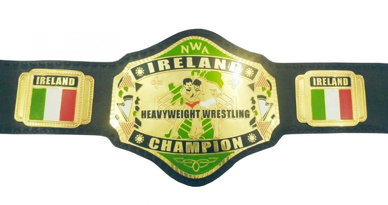 NWA IRELAND HEAVYWEIGHT WRESTLING CHAMPIONSHIP BELT BLACK LEATHER STRAP ADULT SIZE