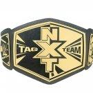 NXT TAG TEAM WRESTLING CHAMPIONS BELT ADULT SIZE BLACK LEATHER STRAP