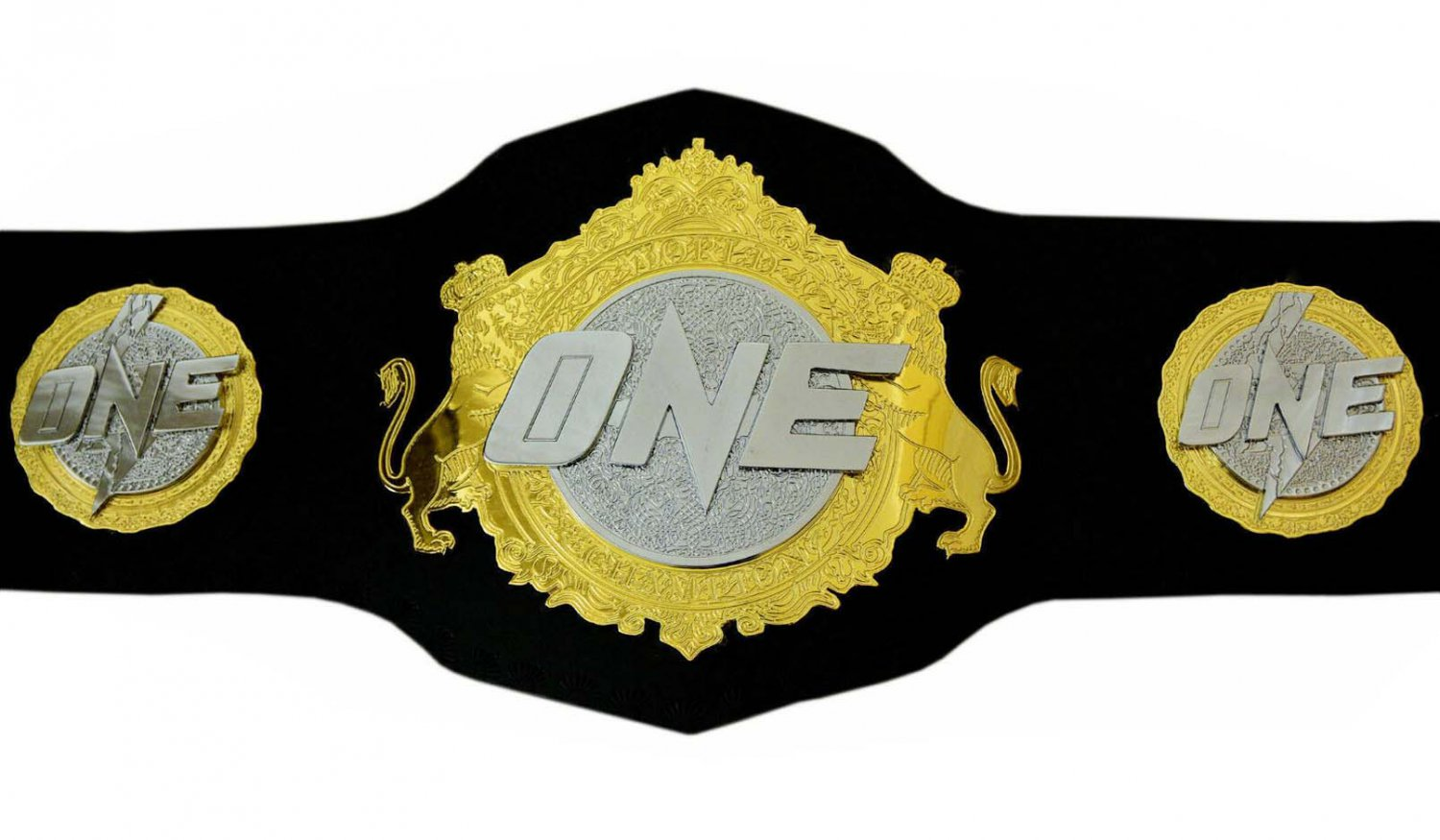 ONE MMA BOXING CHAMPIONSHIP BELT ADULT SIZE BLACK LEATHER STRAP