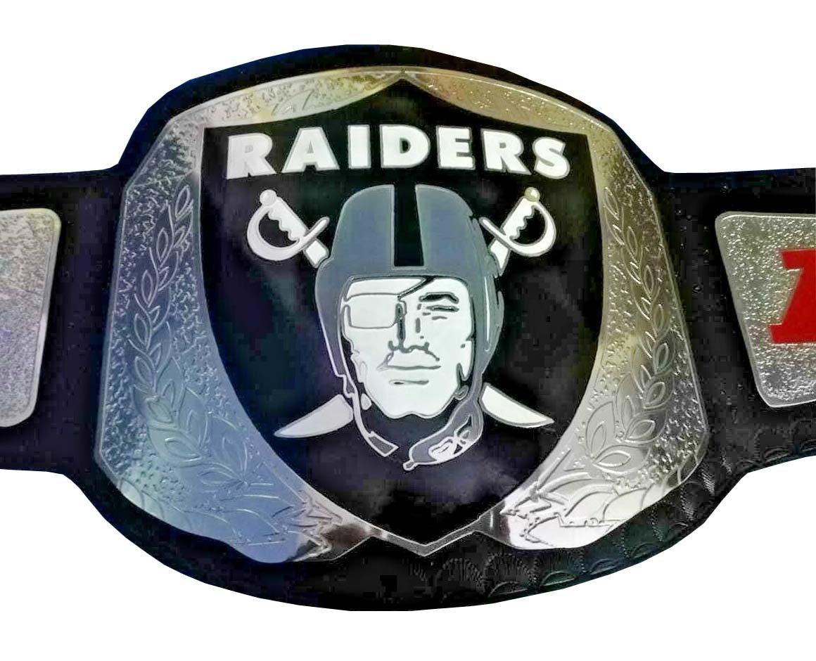 RAIDERS NFL WRESTLING CHAMPIONSHIP BELT BLACK LEATHER STRAP ADULT SIZE