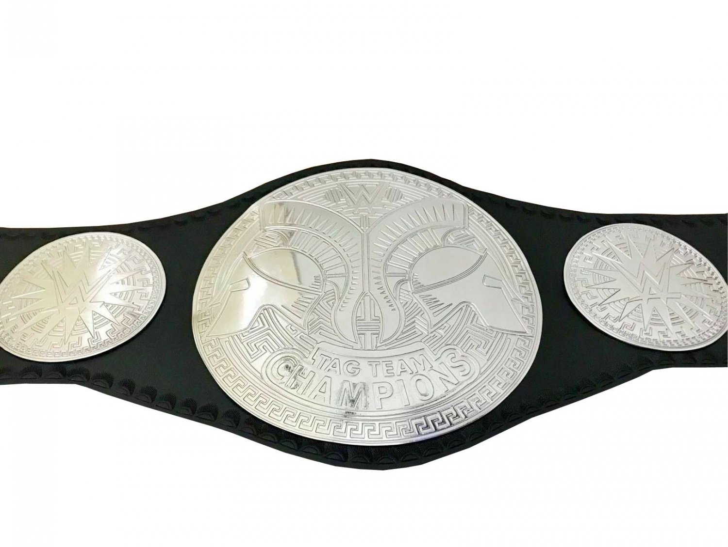 TAG TEAM WRESTLING CHAMPIONSHIP BELT BLACK LEATHER STRAP ADULT SIZE