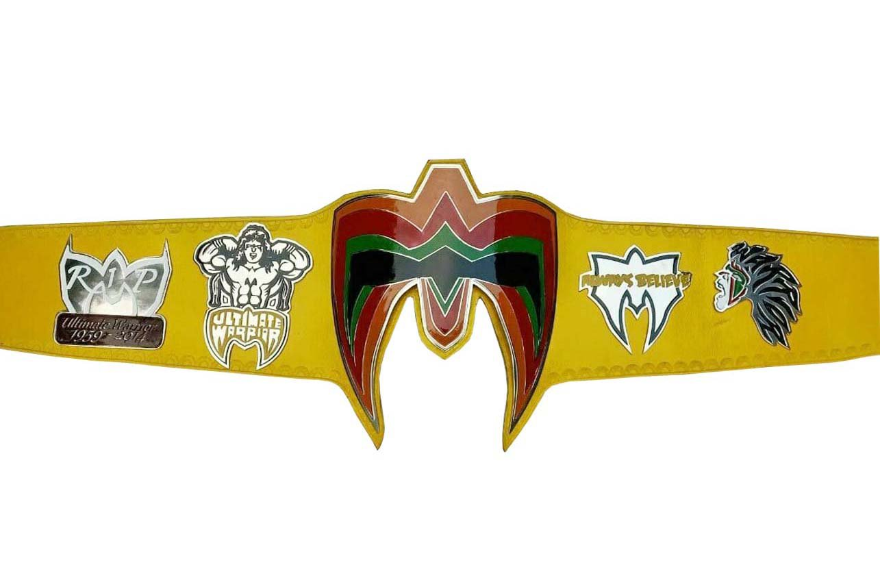 ULTIMATE WARRIOR WRESTLING CHAMPIONSHIP BELT YELLOW LEATHER STRAP ADULT SIZE