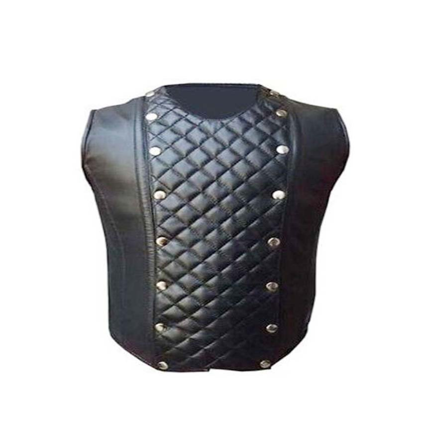 Men's  Gothic Steampunk vest Real Lamb Leather steel boned Victorian coreset chest size 54