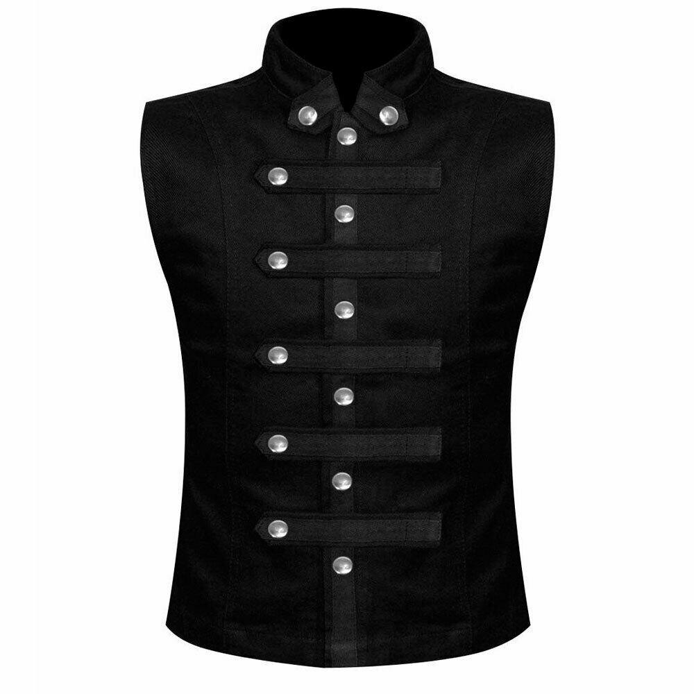 Men's Gothic Military Vest Waistcoat Premium Quality Size XXXXXXXL