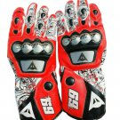Men's Motorbike Motorcycle Motto GP Red And Black Leather  Racing Glove Racing Glove Size XS