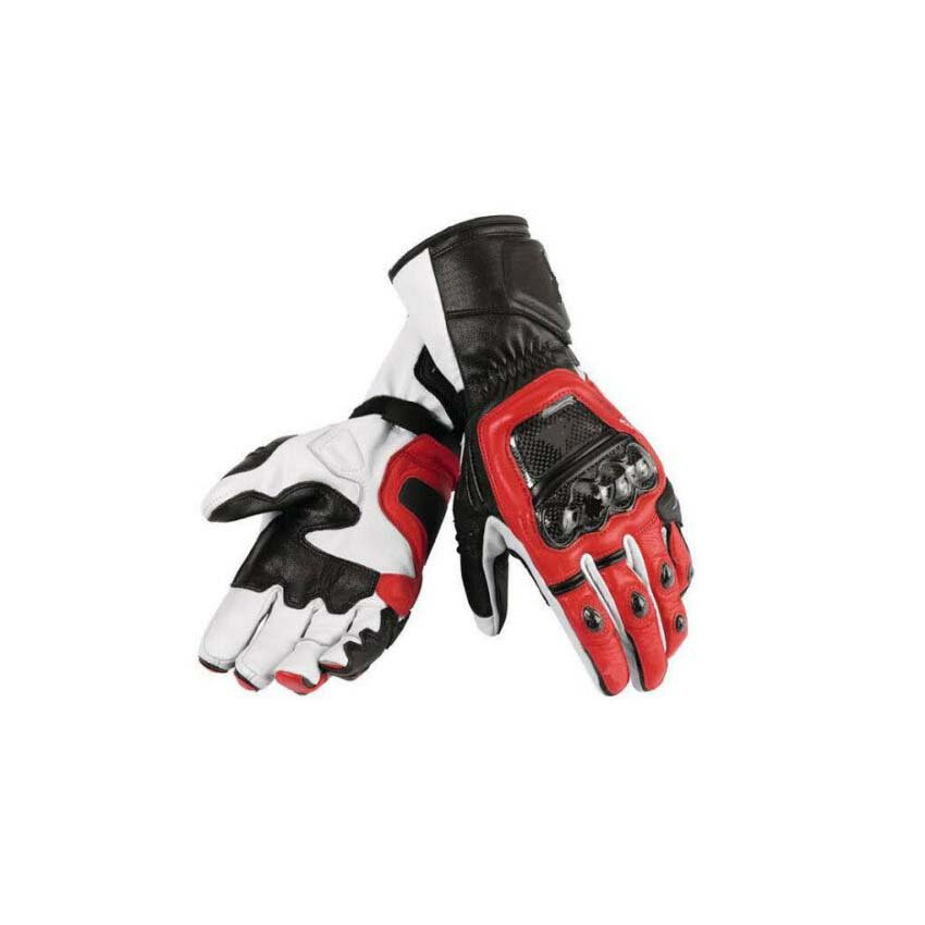 Men's Motorbike Motorcycle Motto GP Red And White Leather  Racing Glove Racing Glove Size S