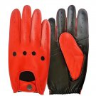 UNISEX REAL LAMB SKIN RED AND BLACK LEATHER DRIVING FASHION DRESS GLOVES SIZE S