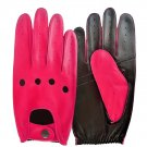 UNISEX REAL LAMB SKIN PINK AND BLACK LEATHER DRIVING FASHION DRESS GLOVES SIZE L