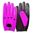 UNISEX REAL LAMB SKIN PURPLE AND BLACK LEATHER DRIVING FASHION DRESS GLOVES SIZE XS