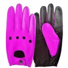 UNISEX REAL LAMB SKIN PURPLE AND BLACK LEATHER DRIVING FASHION DRESS GLOVES SIZE XXL