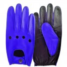 UNISEX REAL LAMB SKIN BLUE AND BLACK LEATHER DRIVING FASHION DRESS GLOVES SIZE S