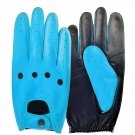 UNISEX REAL LAMB SKIN LIME BLUE AND BLACK LEATHER DRIVING FASHION DRESS GLOVES SIZE XS