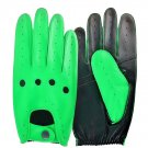 UNISEX REAL LAMB SKIN GREEN AND BLACK LEATHER DRIVING FASHION DRESS GLOVES SIZE L
