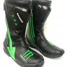 MEN,S KAWASAKI MONSTER ENERGY MOTORBIKE MOTORCYCLE RACING LEATHER SHOES BLACK AND GREEN SIZE USA 9