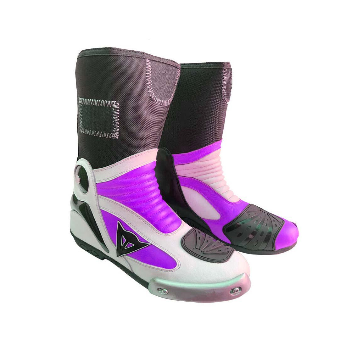 UNISEX MOTORBIKE MOTORCYCLE RACING LEATHER SHOES PURPLE AND WHITE COLOURE SIZE USA 6