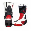 MEN,S PREMIUM QUALITY MOTORBIKE MOTORCYCLE RACING LEATHER SHOES RED AND WHITE COLOURE SIZE USA 10