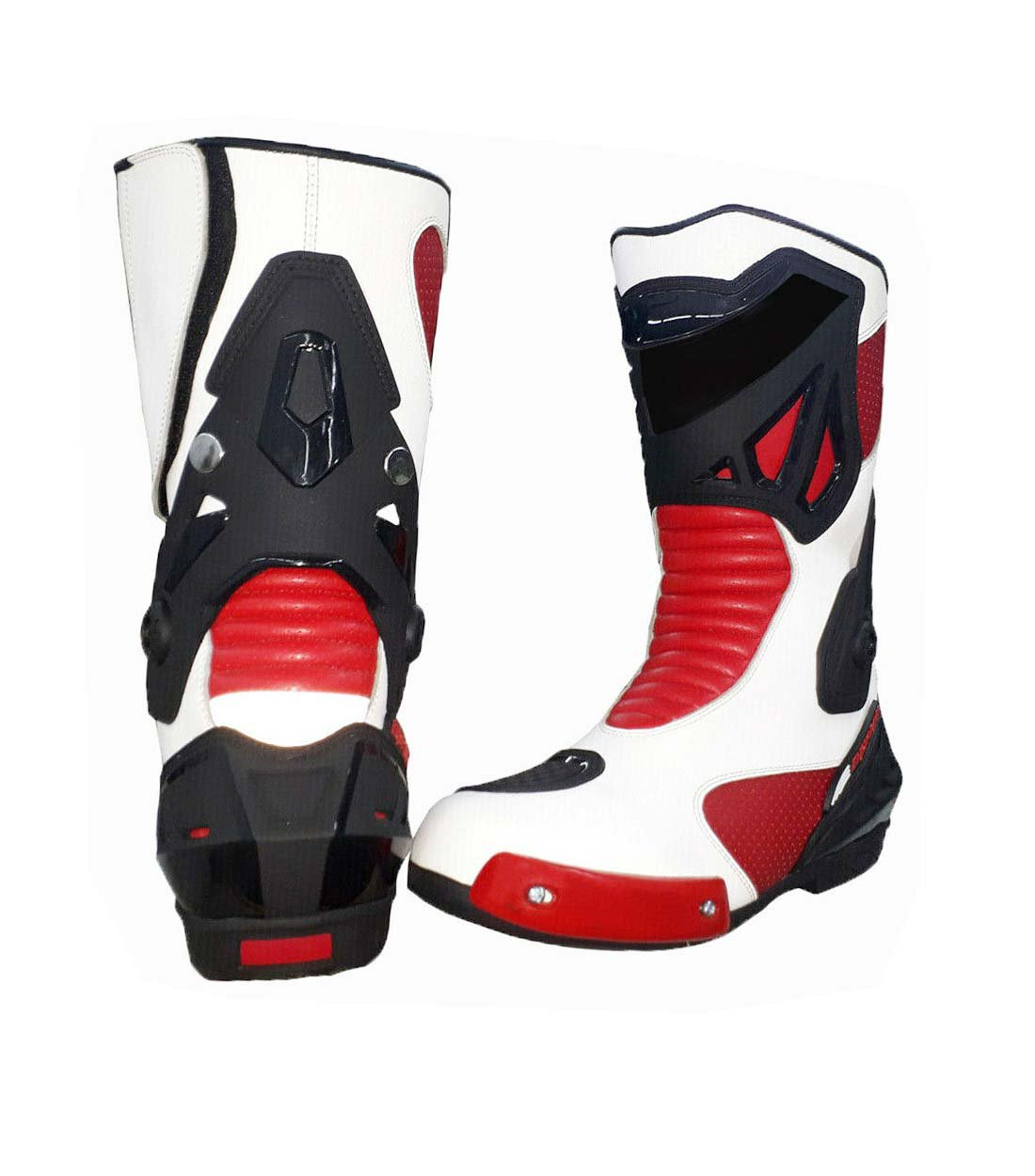 MEN,S PREMIUM QUALITY MOTORBIKE MOTORCYCLE RACING LEATHER SHOES RED AND WHITE COLOURE SIZE USA 15