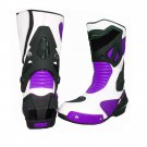 MEN,S PREMIUM QUALITY MOTORBIKE MOTORCYCLE RACING LEATHER SHOES PURPLE AND WHITE COLOURE SIZE USA 5