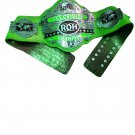 ROH RING OF HONOR WORLD TELEVISION WRESTLING CHAMPIONSHIP BELT GREEN CROCODILE SKIN LEATHER STRAP