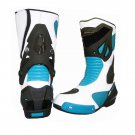 MEN,S PREMIUM QUALITY MOTORBIKE MOTORCYCLE RACING LEATHER SHOES BLUE AND WHITE COLOURE SIZE USA 10